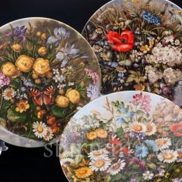 Три декоративные фарфоровые тарелки Полевые красавицы, Furstenberg, Германия, 1989 г.