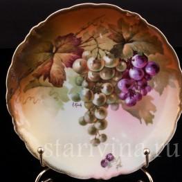 Декоративная фарфоровая тарелка Виноград, Porzellanfabrik Marktredwitz, Jaeger & Co., Германия, 1872-1898 гг.